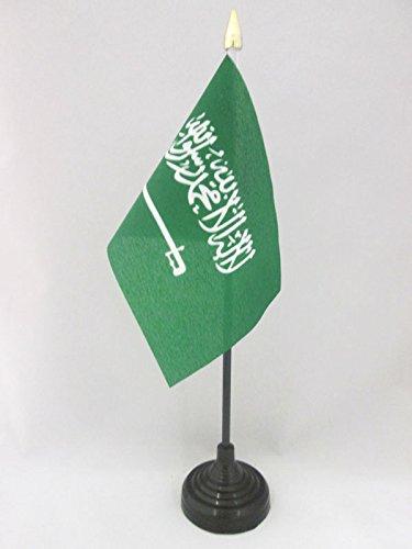 AZ FLAG Bandera de Mesa de Arabia Saudita 15x10cm - BANDERINA de DESPACHO SAUDÍ 10 x 15 cm Punta Dorada