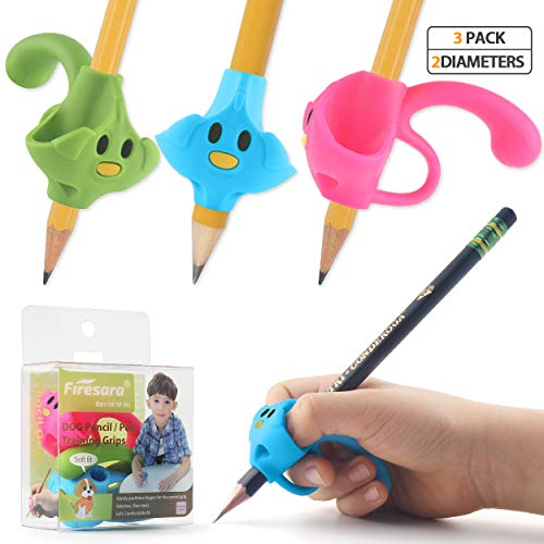 Pencil Grips, Firesara Original Pencil Grips for Kids Handwriting Ergonomic 5 Fingers Fixed Sets for Trainer Handwriting Posture Correction, Assorted Pencil Grips for Righties and Lefties (3Pcs)