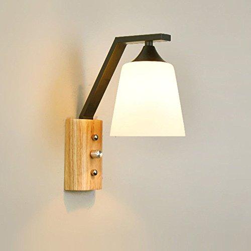 LED Moderna Lámpara de Pared,LED Lámpara de pared Interior Lámpara de pared de personalidad creativa。Tronco de madera maciza dormitorio lámpara de noche pasillo lámpara de pared escalera, negro
