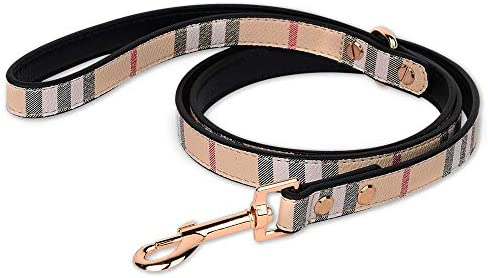ANYDERTS 4 ft Puppy Leather Leash Check Pattern Collar Durable Leather Collar with Metal Buckle product image