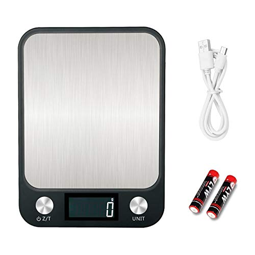 EasyULT Balance Cuisine Balance de Précision avec Charge USB, Balance Numérique de Cuisine Balance Cuisine Electronique(15kg/1g), Acier Inoxydable Tactile Sensible Écran LCD Rétroéclairé