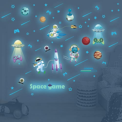 Pegatina De Pared Luminosa Azul Juego Espacial Astronauta Vinilo Fluorescente Calcomanía De Pared Para Decoración De Habitación De Niños 67X55Cm