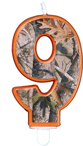 Camo Birthday 3 Inch Number '9' Nine Candle, Next Camo Party Collection by Havercamp