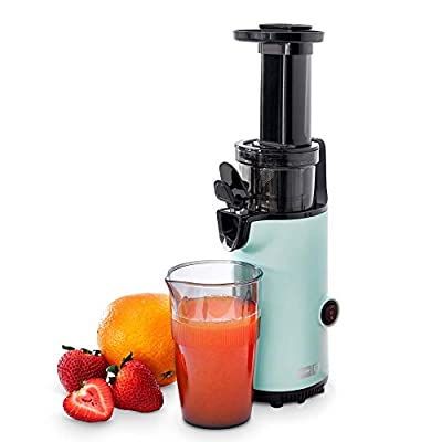 Dash DCSJ255 Deluxe Compact Power Slow Masticating Extractor Easy to Clean Cold Press Juicer with Brush, Pulp Measuring Cup, Frozen Attachment and Juice Recipe Guide, Aqua (Renewed)