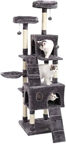 Eono Essentials Multi Nivel Arboles para Gatos Rascadores Sisal Poste con Casa Nido Juguetes Gatitos Mueble Gris Altura 69''
