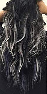 Moresoo 18 inch 50g Straight I Tip Fusion Hair Extensions 100% Remy Human Hair Extensions Tips Balayage Color Off Black/#1B with Gray Silver 1g/s Brazilian Hair
