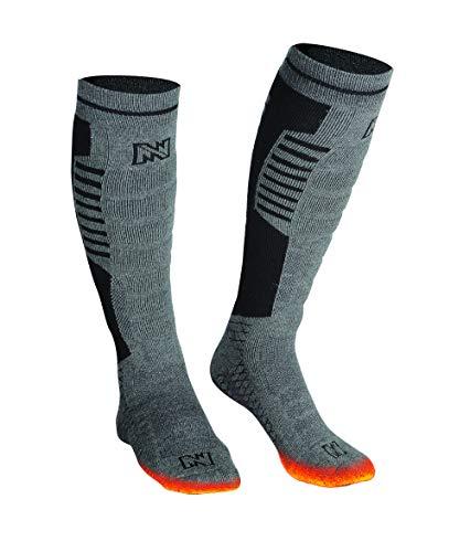 Mobile Warming Heated Socks,Tri-Blend Construction,Grey/Black,Men4-10/Women6-11