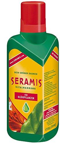 Seramis Flüssiger Pflanzendünger mit Dosierhilfe für alle Blühpflanzen, Vitalnahrung, 500 ml, Grün