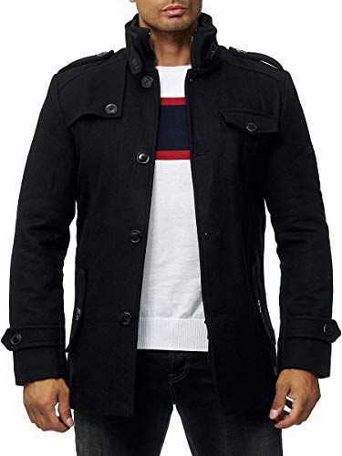 Indicode Brandan wollen jas voor heren, verwarmend winterjack met opstaande kraag van wolmengsel