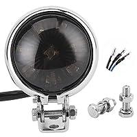 Elerose LED 12vテールライトモーターサイクル、12Vモーターサイクル用ユニバーサル取り付け固定ネジロッド付きLEDテールライトブレーキリアランプ(D(スモークフードのメッキ))