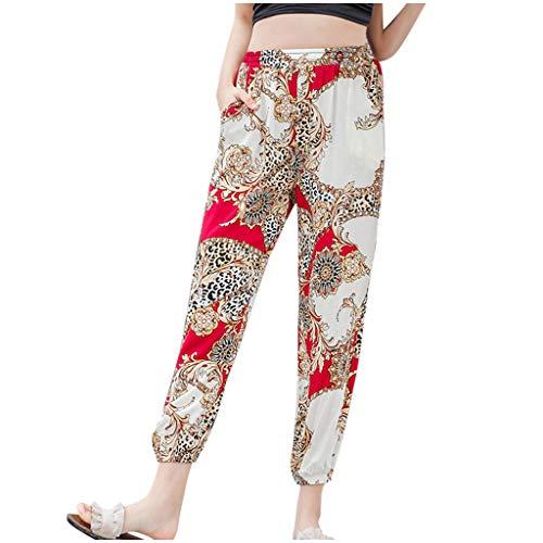 Posional Mujer Pantalones Hippies Tailandeses Estampado Verano Cintura Alta Elastica con Bolsillos...