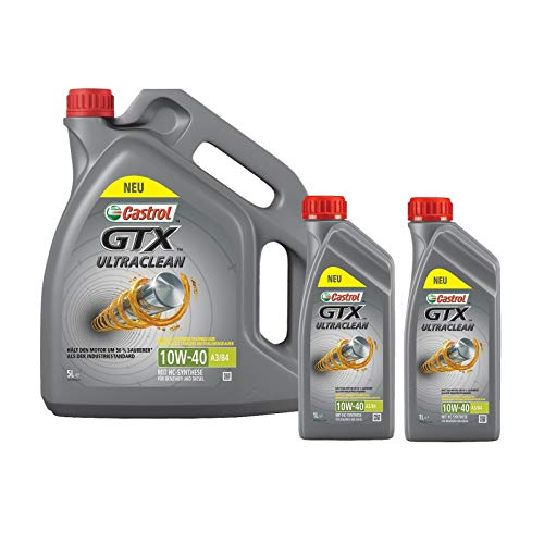 Motorenöl 10W-40 GTX Ultraclean A3/B4 [7 L] von Castrol (SET15A4D57L) Öl Schmierung Motorenöl