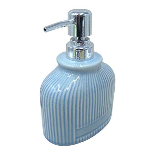 YIXIN2013SHOP Dispensador de Jabón Azul de la grieta Cerámica dispensador de jabón con cámaras de Bombas de plástico de Plata 13.5 oz Botella de Cristal Jar Loción Dosificador Jabón