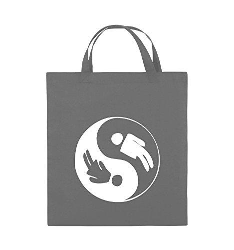 Comedy Bags - Yin Yang - Mann Frau - Jutebeutel - Kurze Henkel - 38x42cm - Farbe: Dunkelgrau/Weiss