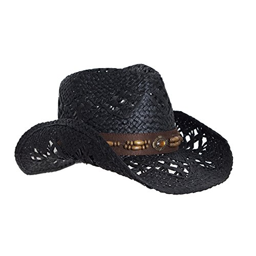 Vamuss Black Straw Cowboy Hat for Women, Faux Leather Trim, Shapeable Brim