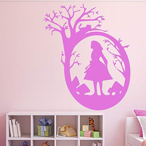 Hübsches Mädchen Wandaufkleber Home Decor Stikers für Kinderzimmer Home Decor Abnehmbares Dekor Wandtattoos Pink L 43cm X 52cm