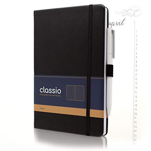 CLASSIO Bullet Journal | nummeriertes Notizbuch A5 dotted mit Index, Pen-Loop & Falttasche | 200 Seiten weißes Papier 100 g/m2 | 180°C aufklappbar | schwarzes Kunstleder Hardcover