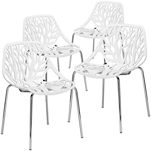 Poly and Bark Birds Nest Dining Side Chair in White (Set of 4)