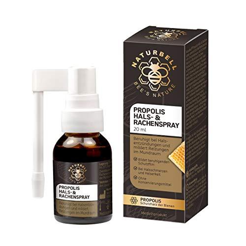 Naturbell Propolis Hals- & Rachenspray, beruhigendes Spray mit Propolis bei Halsentzündung, langer Sprühkopf für schnelle Hilfe bei Halsschmerzen, 1 x 20 ml Spray