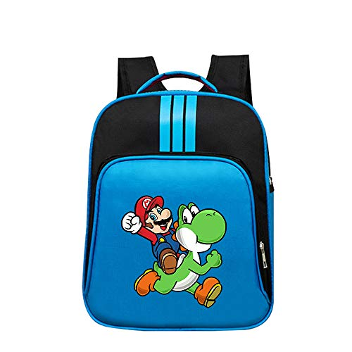 Super Mario Daypacks Einfarbig Rucksack Grundschule Tasche Für Mädchen Jungen Cartoon Muster Reise Sporttasche (Color : Blue03, Size : 32 X 14 X 40cm)