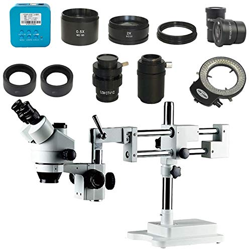 TANGIST 3.5X-90X Double Boom Stereo Simul Focal trinocular Microscope +20MP HDMI Industrial HDMI Microscope Camera +1/2 1/3 Adapter for Natural Observation/Part Inspection (Color : Black)