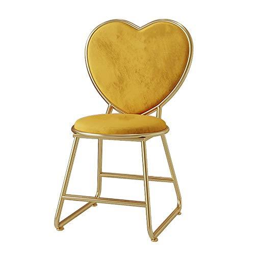 Sillón de Terciopelo para tocador, sillón de Dormitorio, Patas de Metal Chapado en Oro, Respaldo, Silla de Amor, Taburete de Maquillaje, Taburete de manicura, Amarillo