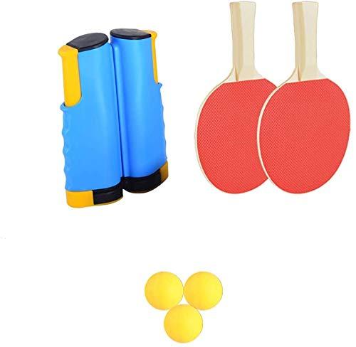 DSGYZQ Set di Rete Ping-Pong, Racchetta da Ping-Pong con Tre Palline da Ping Pong 1 Paio Ping Pong Pallet 1 alloggiamento a Scomparsa istantanea per Bambini Adulti