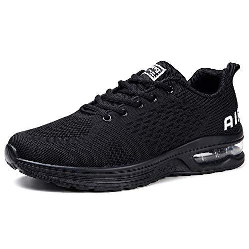 STQ Women's Running Shoes Lightweight Air Cushion Sneakers Breathable Athletic Walking Shoe for Tennis Sport Gym Training Jogging All Black 6.5