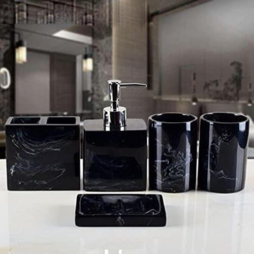 Juego de accesorios de baño de resina de lujo 5 piezas Set de bandeja de 5 piezas de color blanco nórdico textura resina baño dispensador jabón bandeja de almacenamiento