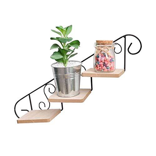 DNSJB 3 Tier Ladder Bloem Plant Pot Stand Rack Muur Ophanghaken Metalen Drijvende Planter Houder Decoratie Display Houder Tuin Binnen Outdoor Klapbord Woonkamer Balkon Iron+hout