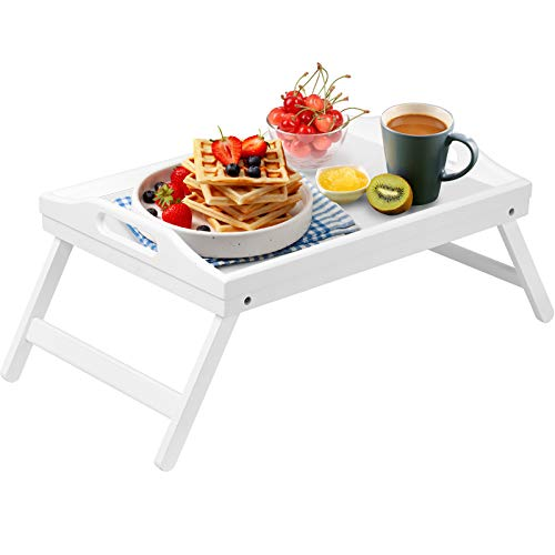 Bed Tray Table Folding Legs with Handles Breakfast Food Tray for Sofa Eating,Drawing,Platters Bamboo Serving Lap Desk Snack Tray(Small Size White)