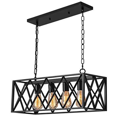 Retro smeedijzeren kroonluchter, vintage industrieel zwart rechthoek 4-licht hangende lamp verlichting armatuur voor keuken eiland eetkamer