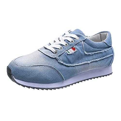 Zapatillas de Senderismo para Mujer Tejidas Ligeras y elásticas Transpirables para Caminar a la Moda, cómodas Zapatillas Deportivas Mary Jane (M03_Light Blue,38)