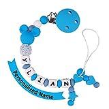 MCGMITT Clip Ciuccio con Nome Personalizzata Catenella e Clip Succhietto Silicone Adattatore(blue)