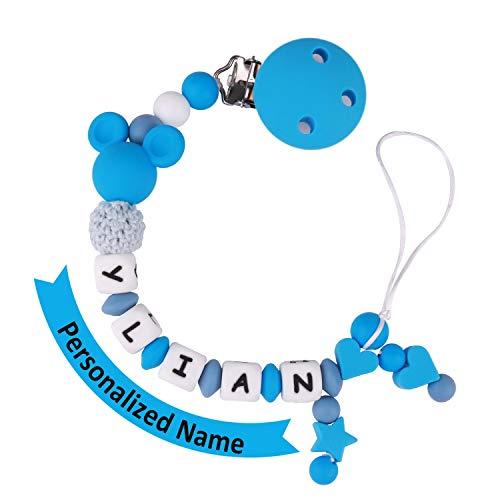 MCGMITT Schnullerkette mit Namen Jungen Maximal 9 Buchstaben Longe Personalisierte Zahnen Silikon Selber Blau(blue)
