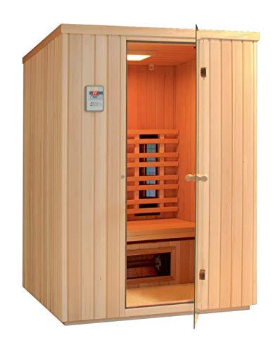 SAUNELLA Infrarotkabine | Infrarotsauna Bausatz Heimsauna Maße: 110 x 110 x 200 cm | Saunaofen Komplett Sauna Zubehör Ecksauna Massivholz | ext. Steuerung 2,1 kW