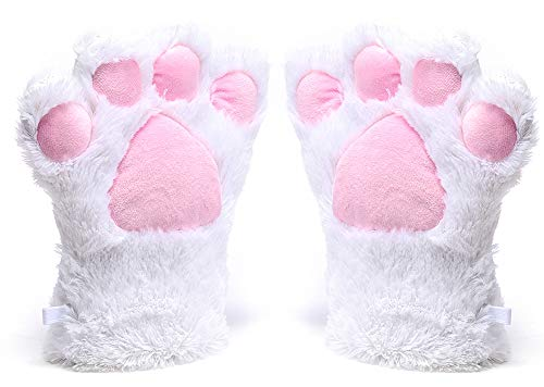Odema Womens Winter Warm Gloves Cosplay Cat Paw All Cover Mittens for Girls