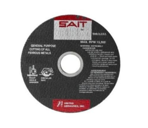 United Abrasives-SAIT 23106 Type 1 6-Inch x .045-Inch x 7/8-Inch A60S General Purpose Thin High Speed Cut-Off Wheels, 50-Pack