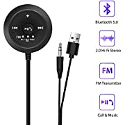 TecTri Bluetooth 5.0 Wireless FM Transmitter Wireless Car Kit Hands F Ree  Wireless Talking Music Streaming Receiver for Car with 3.5mm AUX Input Port