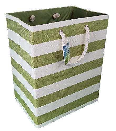 Grandes 55 litros. Cesta trenzada doblada. Contenedores forrados. Solución de almacenamiento ecológico. Ideal para ropa, juguetes, zapatos, lavado en dormitorio y baño. Verde