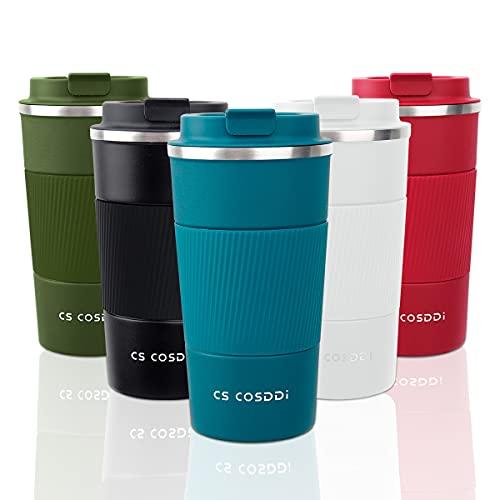 CS COSDDI Tazas de viaje aisladas con tapa a prueba de fugas, tazas de café reutilizables, taza de café para coche, taza térmica de acero inoxidable para agua caliente y fría y té de 510 ml (azul-A)