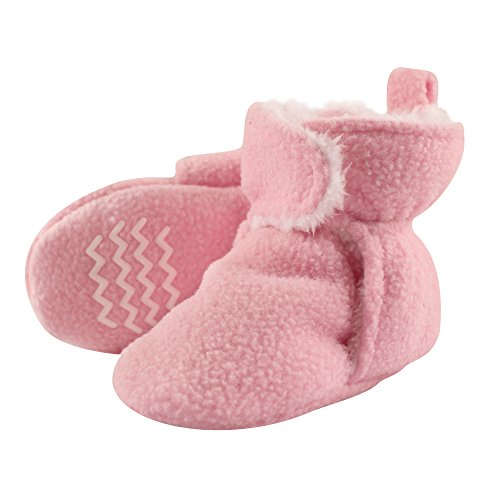 Hudson Baby Unisex Baby Cozy Fleece and Sherpa Booties, Light Pink, 0-6 Months