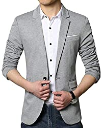 chenshijiu Mens Casual Slim Fit Solid Color Business One-Button Suit Blazer Jackets