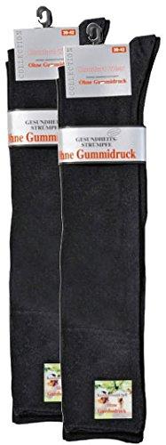 socksPur 2er PACK Herren-Ges&heitsstrümpfe, knielang extrabreiter Piqué-Komfortb&, auch für Damen geeignet (39-42, schwarz)