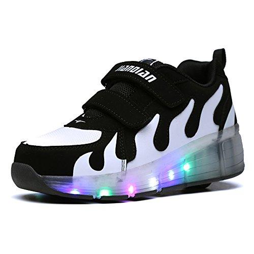 Good-time Kinder Junge Mädchen Led Schuhe Sneaker Mit Rollen 7 Farbe Farbwechsel Wheels Skate Schuhe(Schwarz-Weiss,39 EU)