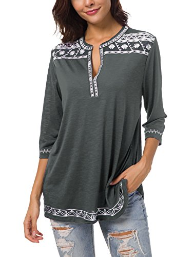 Women's 3/4 Sleeve Boho Shirts Embroidered Peasant Top (L, Deep Gray)