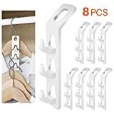 WINIT Cascading Clothes Hanger Hooks,Space Saving Series Multi-Function Multi-Layer Cabinet Clothes Connection Folding Storage Clothes Rack Hanger Household Strong Load-Bearing Closet Hook (8pcs)