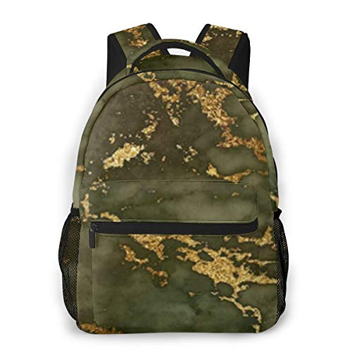 Green Gold Marble Cool Backpack for Men and Women, Printed Backpack School Bag