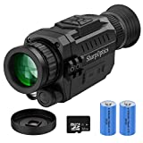 SharpOptics HD Digital Night Vision Monocular for Hunting Night Vision Goggles Military Tactical Scope with Rechargeable/Take Photo/Video Recording/Playback -Perfect for Surveillance (32GB TF Card)