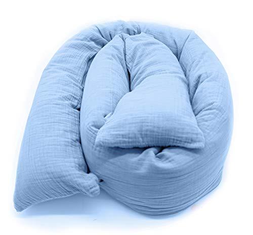 Mizali - Bettschlange 300 cm - mit Reißverschluss - abnehmbarer Musselin Bezug - waschbar - Bettumrandung Babybett Kantenschutz Kinderbett (300 cm, Hellblau)